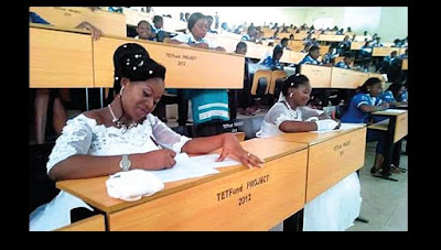 2 Nigerian Ladies Wrote Their Final Exams In Their Wedding Gown