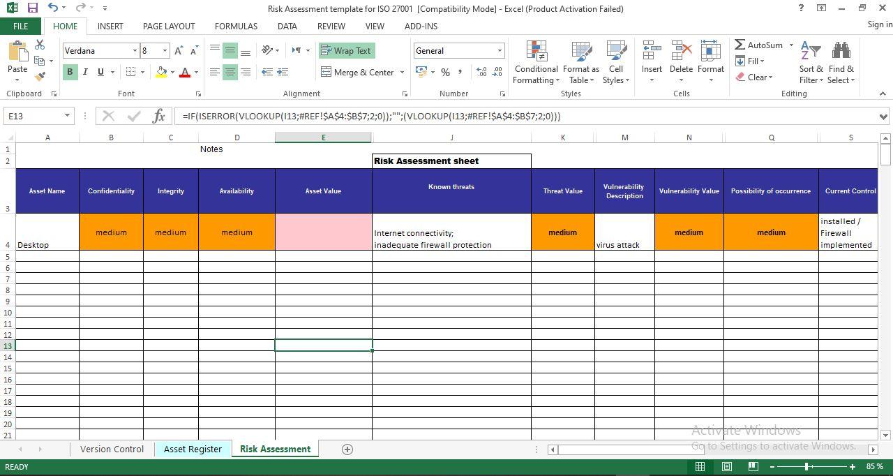 Risk Assessment template for ISO 27001