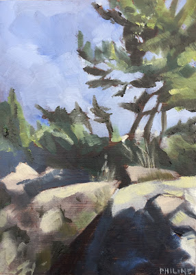 Rocks and pine trees, painted in the Stockholm archipelago, Sweden. Daily painting #122, oil on panel 13x18 cm by Philine van der Vegte