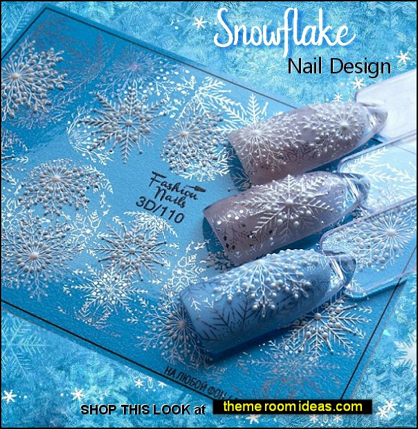 Snowflake nail sticker Santa Nail Wraps Christmas snowflakes Snowman Nails frozen nails ice queen