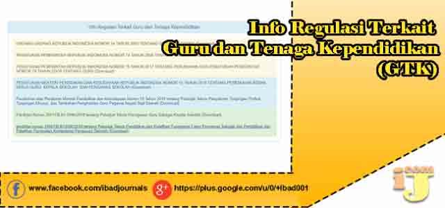 Info Regulasi Terkait Guru dan Tenaga Kependidikan (GTK)