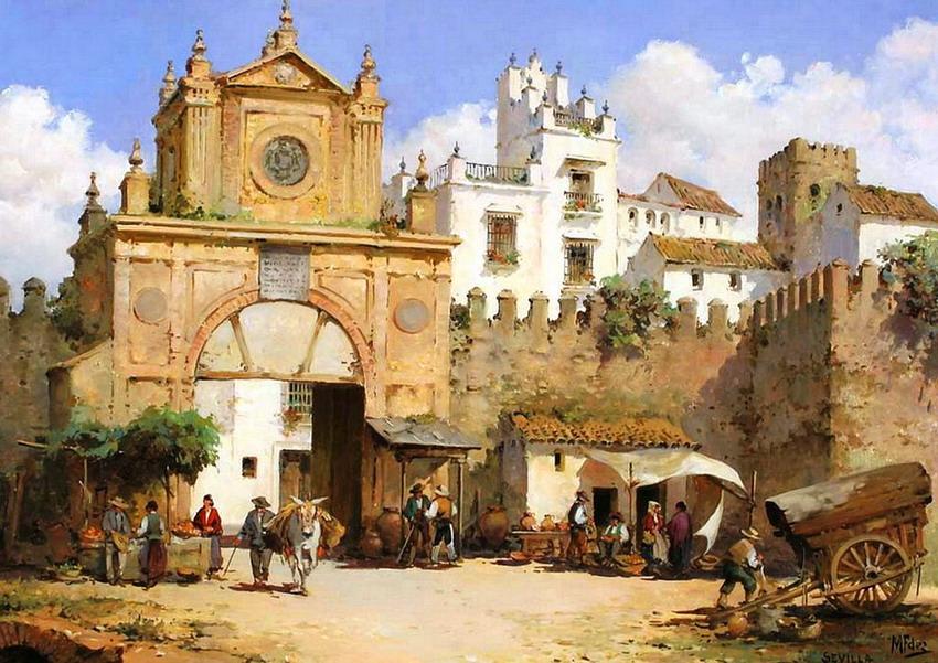 Cuadros modernos pinturas y dibujos pueblitos espa oles cuadros al leo de manuel fern ndez - Casas de famosos en espana ...