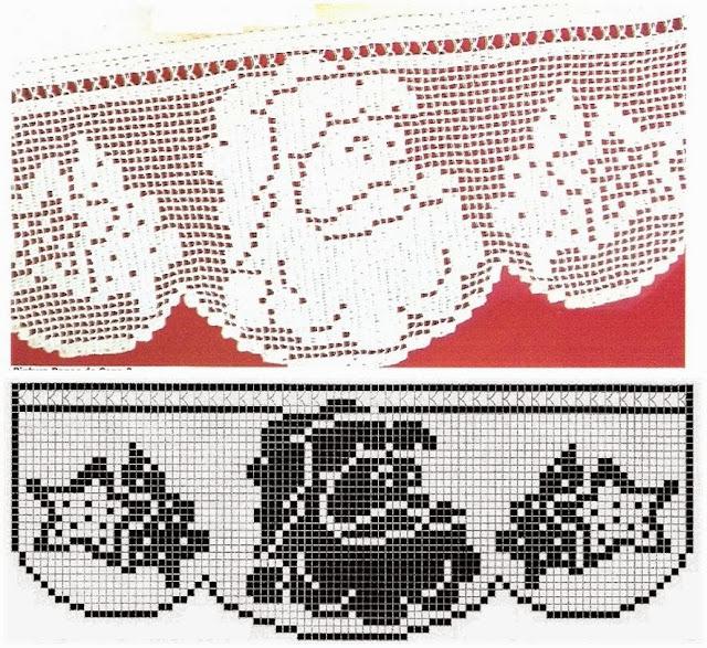 Barrado de Crochê Com Papai Noel - Com Gráfico