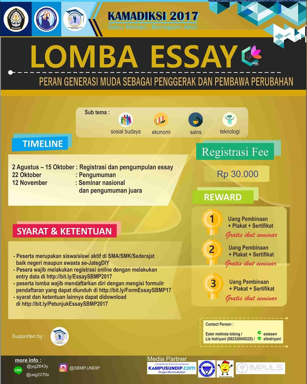 Lomba Essay Kamadiksi 2017 | Univ. Diponegoro | SMA Sederajat