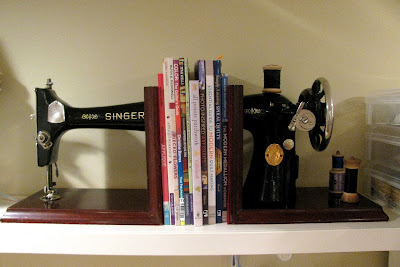Vintage sewing machine bookends | Monica Curry's quilting studio.