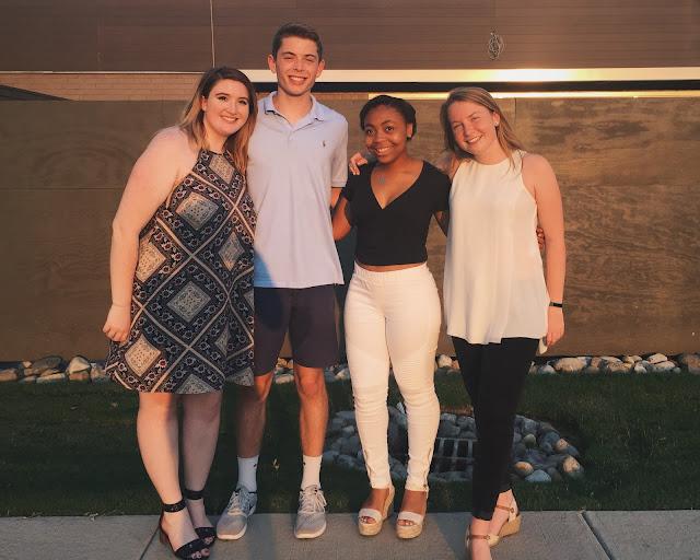 Miss Lauren Alston and friends at dinner