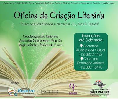 Secretaria de Cultura de Registro-SP recebe inscrições para Oficina de Criação Literária