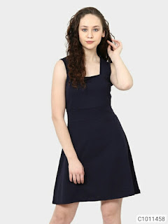 Women's Cotton Solid Short Dresses