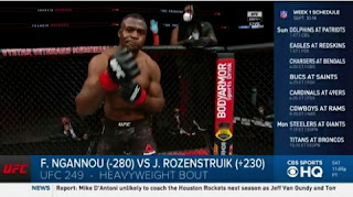 UFC results displayed: Francis Ngannou stops Jair Rozenstruik with a 20-second violent knockout