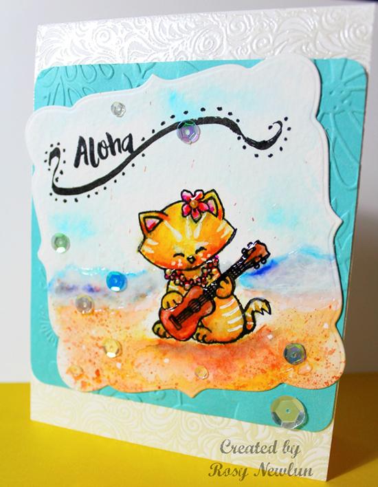 Aloha Kitty card by Rosy Newlun | Aloha Newton stamp set by Newton's Nook Designs #newtonsnook
