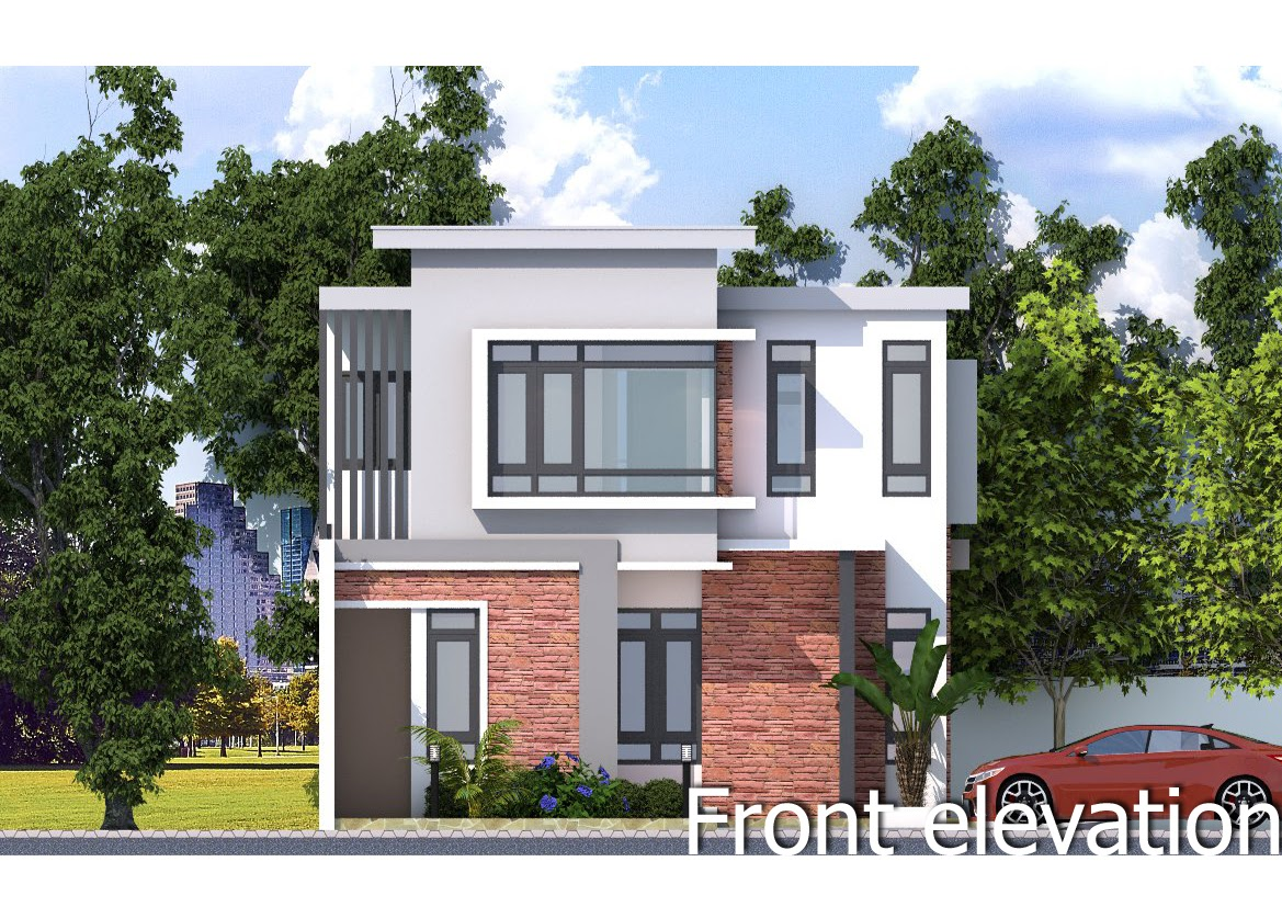 Sketchup Front Elevation : Sketchup modern home plan size m samphoas house