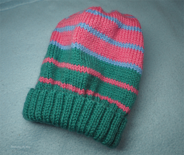 8 ply striped knitted beanie ~ Threading My Way