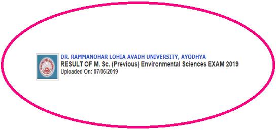 RMLAU M.Sc Previous Environmental Science Result 2019