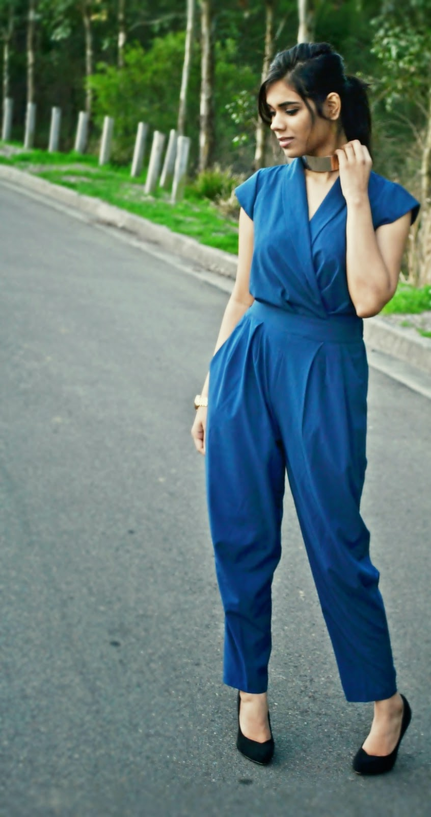 jumpsuit, blue, gold choker, michael Kors watch, rose gold watch, overalls