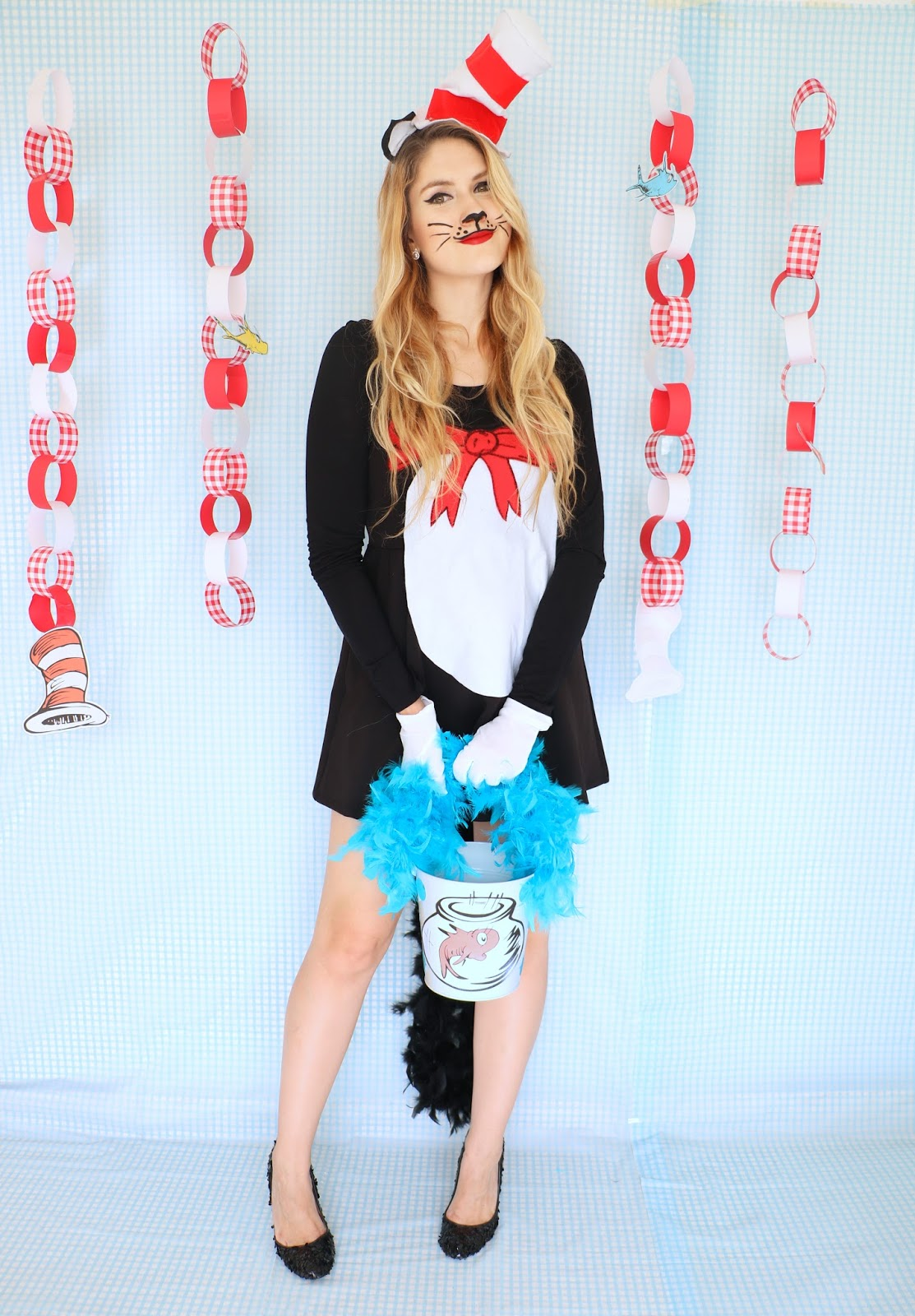 Easy Homemade Cat in the Hat Costume Tutorial for Halloween