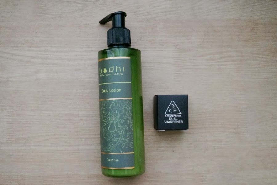 Bodhi Green Tea Lotion and 3CE Dual Sharpener