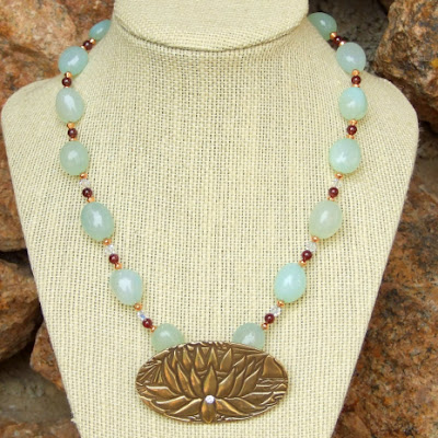 yoga lotus blossom green chalcedony and red garnet handmade jewelry