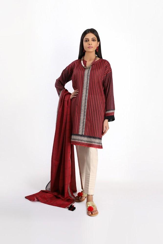 khaadi Red Lawn printed shirt dupatta