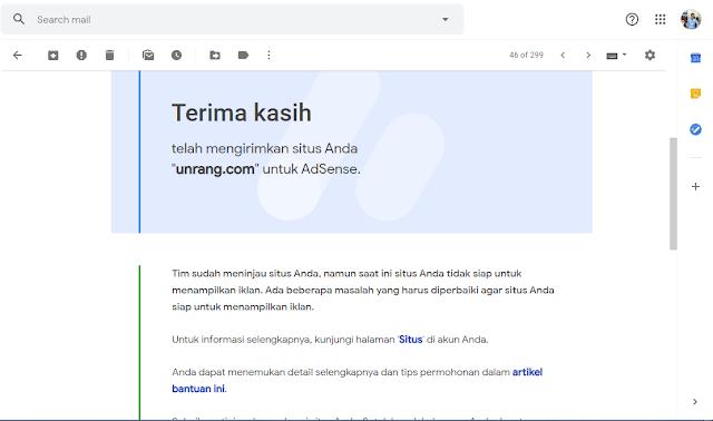 Email di tolak Adsense tidak sesuai kebijakan program Adsense