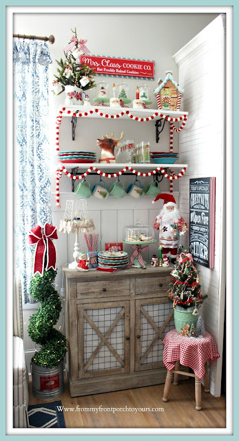 Breakfast- Nook -Christmas- Decor-Farmhouse-Cottage-Vintage-Santa-Mug-Jadeite-Pioneer Woman-Target-Reindeer-Pitcher-From My Front Porch To Yours