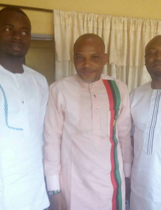 Nnamdi Kanu rocks Biafra outfit as he receives IPOB members at Kuje Prisons