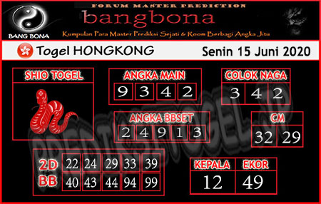 Prediksi HK Senin 15 Juni 2020 - Bang Bona