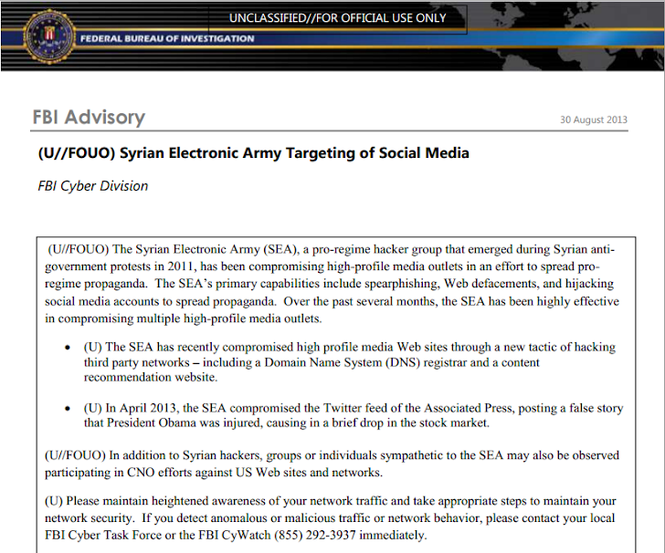 FBI Cyber Division put 'Syrian Electronic Army' Hackers in