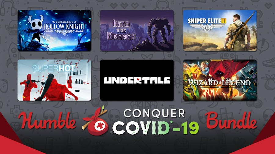 humble store conquer covid 19 bundle charity relief hollow knight into the breach sniper elite 3 superhot undertale wizard of legend pc game