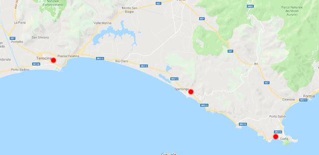 Calcola distanza da Terracina Sperlonga e poi Gaeta