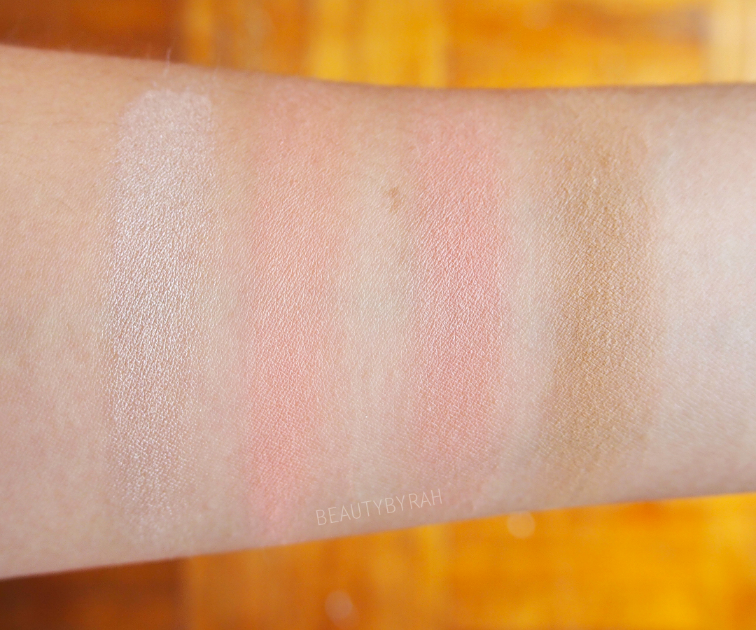 swatches of ELF cosmetics beautifully bare total face palett