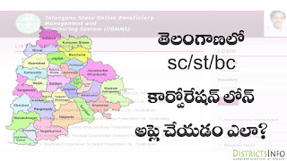 ST/SC/BC Corporation Loan Online  in Telangana State