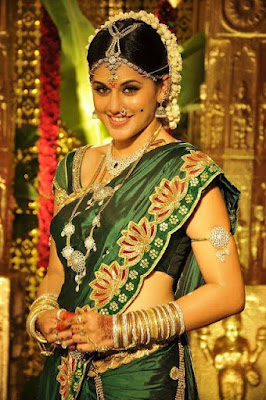 Indian Model And Actress Taapsee Pannu In South Indian Style Saree.