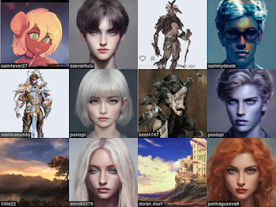 A selection of AI generated images from Artbreeder.