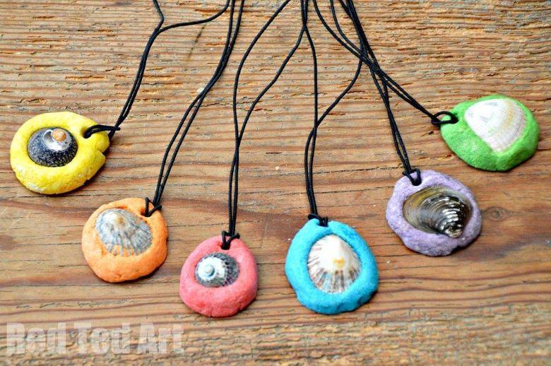 Salt dough ideas - shell pendants craft