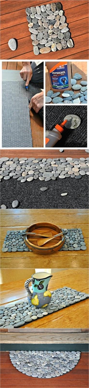 tapete DIY hecho con piedras de río