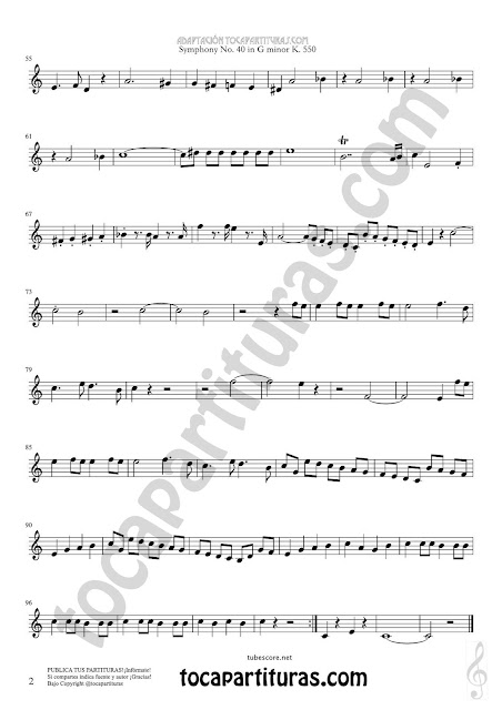 Hoja 2 Trompa Partitura de Sinfonía Nº 40 French horn Sheet Music for French Horn Music Scores