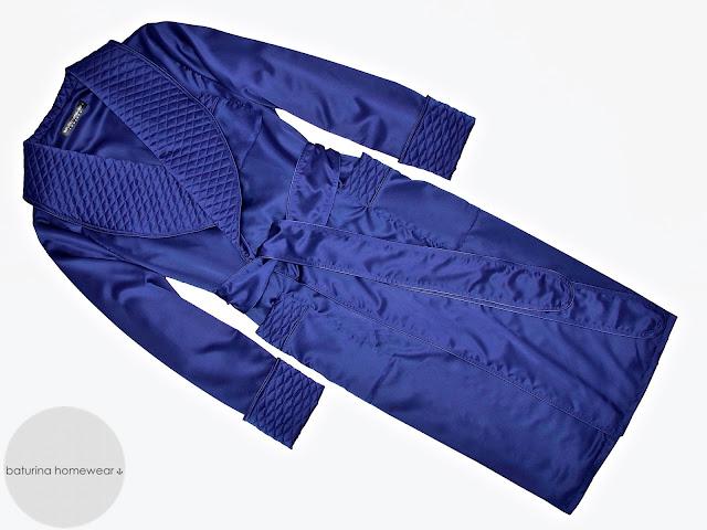 mens dark blue silk robe quilted dressing gown