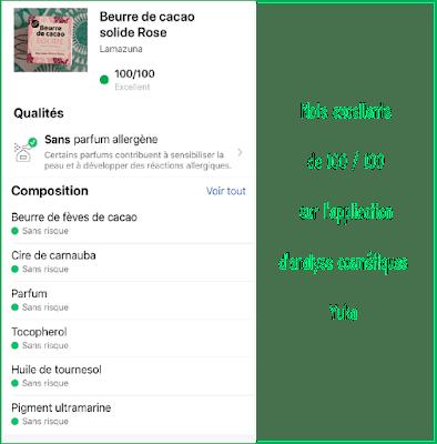 Note Yuka beurre de cacao rose solide Lamazuna