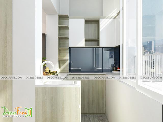Thiết kế và thi công căn hộ chung cư ~30m2 có gác lững - khu bếp