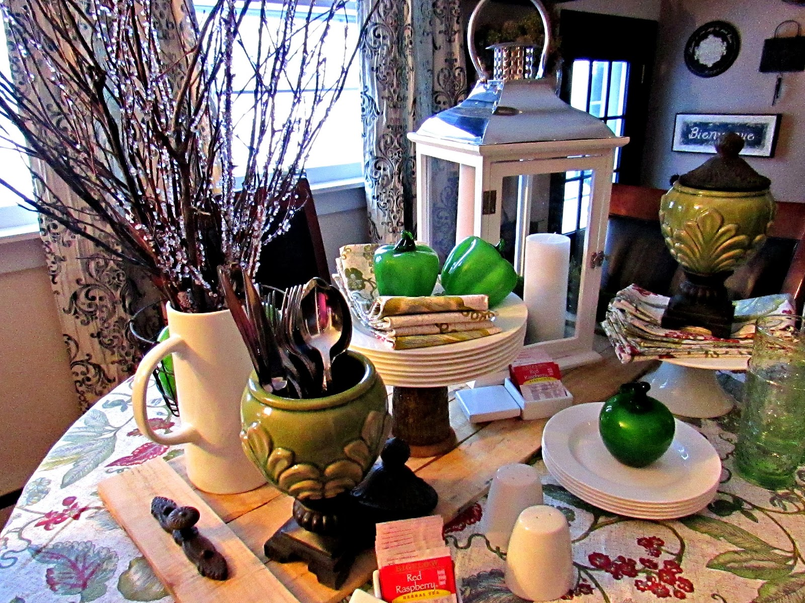 Morning Light ~ Green and White Dishes Tablescape