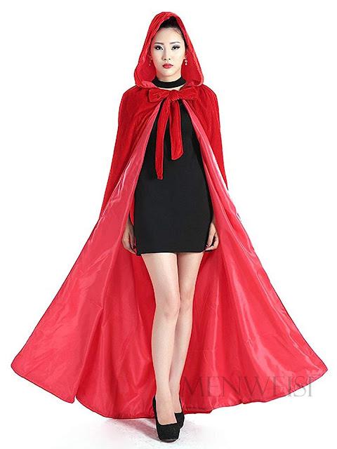 Long Red Velvet Hooded Cape For Halloween Cosplay