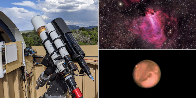"""ATEO-2A: 5"""" f/5.8 refractor and ATEO-2B: 6"""" f/12 Classical Cassegrain reflector remote telescopes with an image of Messier 17, The Omega Nebula taken from ATEO-2A and the first image of Mars imaged on ATEO-2B. Image data acquired by John Evelan and processed by Utkarsh Mishra."""