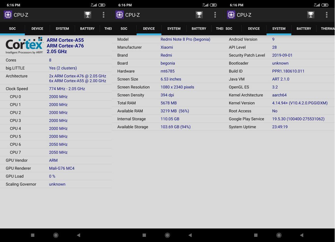 CPU-Z Xiaomi Redmi Note 8 Pro