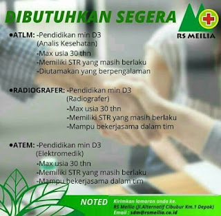 Lowongan Kerja RS Meilia Depok 2019