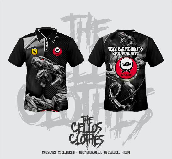 Produksi & Desain Jersey Team Karate Inkido Berkerah Full Printing