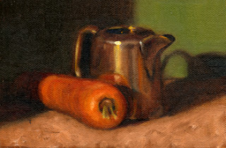 Oil painting of an orange carrot beside a small silver-plated jug.
