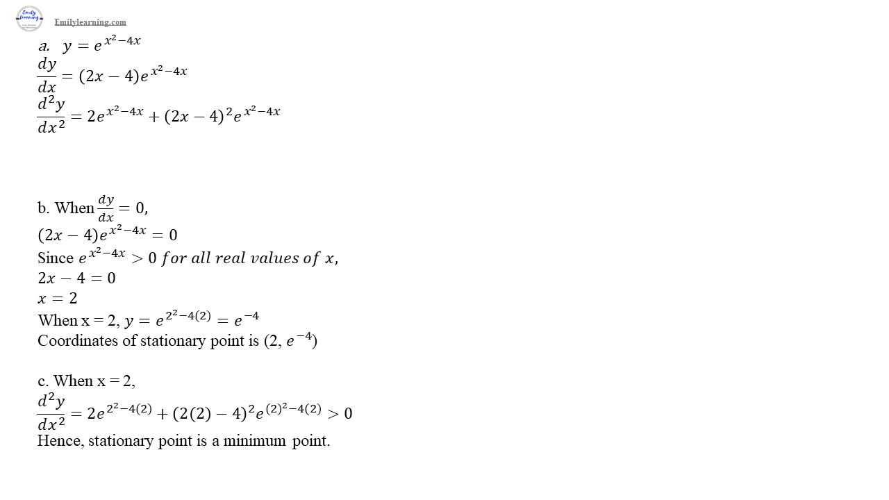 O level additional mathematics specimen paper 2 question 7: differentiation of exponential functions and applying differentiation to stationary points