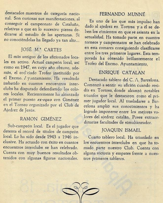 Página 7 del Boletín del I Torneo Nacional de Ajedrez de Tortosa 1948