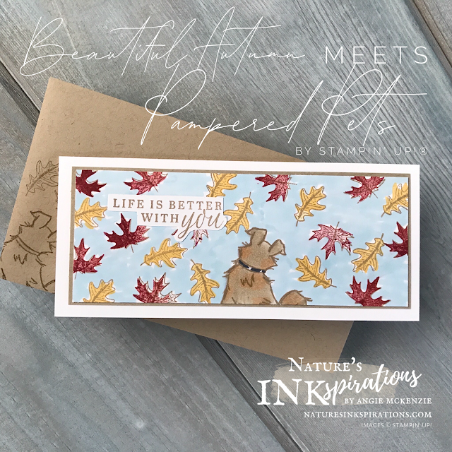 By Angie McKenzie for Benji; Click READ or VISIT to go to my blog for details! Featuring the Beautiful Autumn and Pampered Pets stamp sets; #weloveourgroomer #stampinup #handmadecards #naturesinkspirations #keepstamping #spreadsunshine #beautifulautumnstampset #pamperedpetsstampset #coloringwithblends #fussycutting #simplestamping #minislimline #cardtechniques