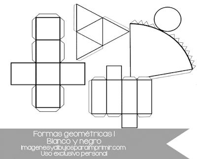 Figuras geométricas recortables para imprimir en blanco y negro
